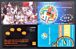 Lot De 4 Télécartes Prépayées Divers Thèmes - Collections