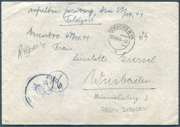 1944 Germany Feldpost Cover + Censored Contents - Female Inmate Dresden Prison - Storia Postale