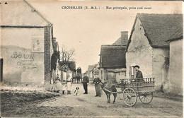 28 CROISILLES  La Rue Principale - Plaque émaillée Chocolat MEUNIER   Attelage Cariole  TRES BON ETAT Non Circulée - Autres Communes