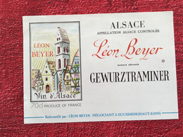 ALSACE LEON BEYER GEWURZTRAMINER -EGUISHEIM Haut Rhin ✔️Bistrot Alimentation Étiquette De Vin Vignoble-☛neuve - Gewurztraminer