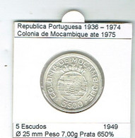 Républica Portuguesa Moçambique 5 Escudos Prata (silver) - Mozambique