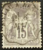YT 77 Cachet Convoyeur Millau à Béziers 6 Mai 1878 (°) Obl SAGE (type II Inv Sous U) 15c Gris France – B2otti - 1876-1898 Sage (Type II)