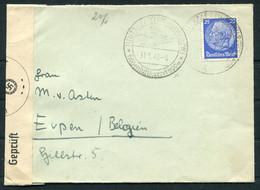 1940 Germany Hillmanns Hotel, Bremen Censor Cover, Hinterzarten Ski Resort Sonderstempel - Eupen Belgium - Storia Postale