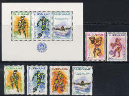 Suriname 1992 Olympic Games Barcelona, Football Soccer, Cycling, Volleyball Etc.  Set Of 6 + S/s MNH - Verano 1992: Barcelona