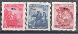 Yugoslavia Republic 1949 Airmail Mi#575-577 Mint Hinged - Unused Stamps