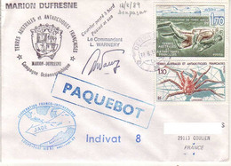 FSAT TAAF Marion Dufresne. 18.08.89 Denpasar Campagne Oceanographique Jade - Covers & Documents