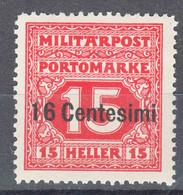 Austria Feldpost Occupation Of Italy 1918 Porto Mi#3 Mint Hinged - Unused Stamps