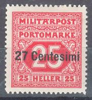 Austria Feldpost Occupation Of Italy 1918 Porto Mi#4 Mint Hinged - Unused Stamps