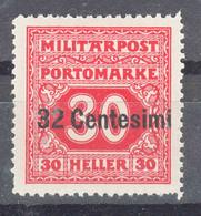 Austria Feldpost Occupation Of Italy 1918 Porto Mi#5 Mint Hinged - Unused Stamps