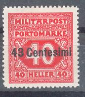 Austria Feldpost Occupation Of Italy 1918 Porto Mi#6 Mint Hinged - Unused Stamps