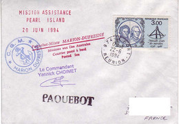 (Timbres). FSAT TAAF Marion Dufresne. 22.06.94 Le Port. Reunion.  Mission Assistance Pearl Island - Covers & Documents