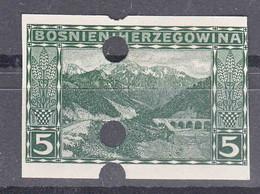 Austria Occupation Of Bosnia 1906 Pictorials Mi#32 U, Imperforated, Used Cancel Holes - Usados