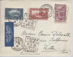 DAGUIN 1/5/1938 FES VILLE NOUVELLE VISITEZ LA FOIRE DE FES DU 20 MAI AU 7 JUIN Pour Lille Superbe - Covers & Documents