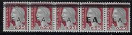 ALGERIE 1962 - YT360** - SURCHARGE EA TYPO TIZI OUZOU - 2ème Tirage - (Types 1B+1+6) - Bande De 5 - Argelia (1962-...)