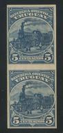 Uruguay 1895-99 Train/locomotive Colour Proof 5c Blue IMPERF. PAIR MH * Original Gum, Perfect Quality, Signed, RARE - Uruguay