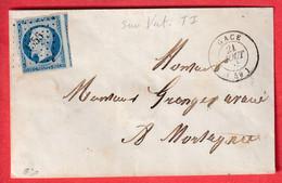 N°14 BLEU SUR VERT UN VOISIN SIGNE CALVES PC 1356 GACE ORNE POUR MORTAGNE - 1849-1876: Periodo Clásico