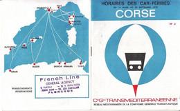 ** HORAIRES DES CAR-FERRIES.- CORSE.- 1970.-** - Europa
