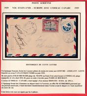 1ER VOL ETATS UNIS FRANCE 1929 AVION OISEAU CANARI SIGNATURE DES PILOTES LEFEVRE ASSOLANT LOTTI - Air Post