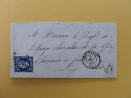 EMPIRE NON DENTELE 14 SUR LETTRE DE VIC DESSOS A FOIX DU 1 MAI 1856 (PETIT CHIFFRE 3557) - 1849-1876: Classic Period