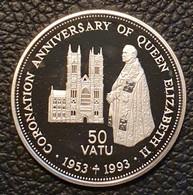 "Vanuatu 50 Vatu 1993 (PROOF) ""40th Anniversary Coronation Of Queen Elizabeth II""  Silver - Vanuatu"