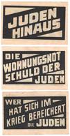 RARE SET 3 WW2 Germany Nazi Anti-Jewish Propaganda FORGERY Overprint On Genuine 1923 Banknote EF - Other