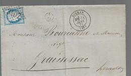 LETTRE CLASSIQUE  AFFRANCHIE AVEC BLEU     SCANS RECTO ET VERSO - 1849-1876: Période Classique