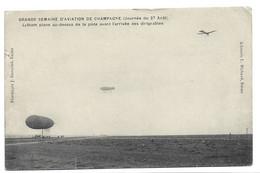 GRANDE SEMAINE D'AVIATION DE CHAMPAGNE , Journée Du 27 Aout .Latham Plane Au-dessus De La Piste. - Reuniones