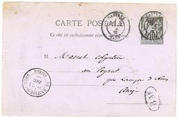 TARN ENTIER CP 10C SAGE 1885 CASTRES + BOITE MOBILE BM = CARTE ECRITE A VIANE (TARN) - 1877-1920: Periodo Semi Moderno