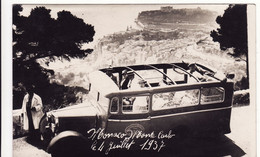 MONACO CARTE PHOTO **Monte-Carlo Le 4 Juillet 1937** Autobus, établissement Ricau, 23 Cours Jean Jaurès à GRENOBLE - Monte-Carlo