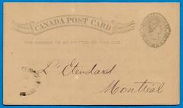 """1888 CANADA Post Card Entier Postal De St George De Windsor Au Journal """"L'Etendard"""" à Montréal - 1860-1899 Reinado De Victoria"""