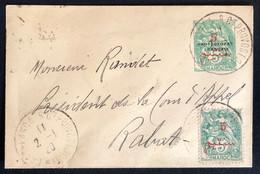 Petite Lettre 1920 N°28 & 40  Tarif à 10c Oblitéré Rue Du Commandant Provost Pour Rabat TTB - Covers & Documents