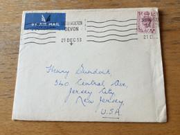 K17 Great Britain 1953 Cover From South Molton Devon To Glen Jersey-City USA - Briefe U. Dokumente
