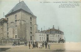 CPA 91 Essonne CORBEIL - Les Grands Moulins - Place Galignanie - Carte Colorisée - Tour Louis Le Gros - Corbeil Essonnes