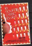 """France: Grande Vignette De 12 X 8 Cm (Le Souffle C'est La Vie """"sans Valeur""""1987/88) - Tegen Tuberculose"""