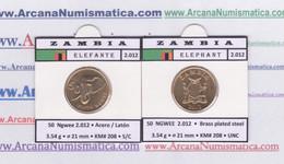 """ZAMBIA  50  NGWEE  2.012  2012  """"ELEPHANT-ELEFANTE"""" Brass Plated Steel  KM#208  SC/UNC  T-DL-12.651 - Zambia"""