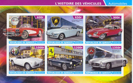 République De Djibouti 2015  -  Corvette-Lamborghini-Jaguar-Alfa Romeo-Ferrari Mercedes -  6v Bloc Neuf/Mint/MNH - Autos