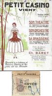 PROGRAMME DU PETIT CASINO DE VICHY SAISON 1928 AVEC SON BILLET D'ENTRÉE TIMBRÉ - Programma's