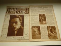 """Origineel Knipsel ( 3572 ) Uit Tijdschrift """" Ons Land """" 1929 :   Dichter Jan Vercammen   Temsche  Temse  Brugge - Unclassified"""