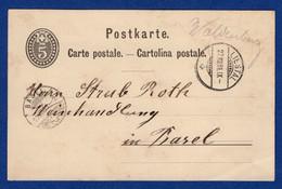 Postkarte Von Waldenburg (mit Stempel Liestal) Nach Basel (aa6016) - Postmark Collection