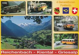 4 Generationen Postauto Reichenbach - Kiental - Griesalp; Autobus, Bus, Mercedes, Saurer - BE Berne