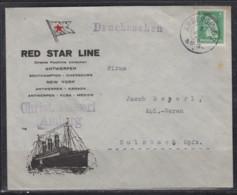 """Dt.Reich Illustrierter Umschlag """" Red Star Line """" Direkte Postlinie Antwerpen ... New York U.a. EF 388 O Amberg 1928 - Cartas"""