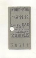 Ticket De Métro Nord Sud, Rue Du Bac - Europe