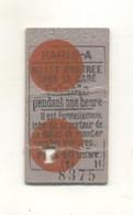 Ticket D'entrée Dans La Gare Paris - A - Europe