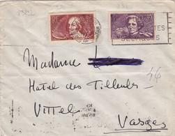 23232# CHOMEURS INTELLECTUELS JACQUES CALLOT HECTOR BERLIOZ LETTRE Obl PARIS 1938 VITTEL VOSGES - 1921-1960: Modern Tijdperk