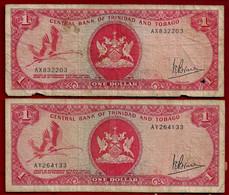 TRINIDAD & TOBAGO BANKNOTE - 2 NOTES 1 DOLLAR (1977) P#30a F (NT#02) - Trinidad & Tobago