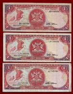 TRINIDAD & TOBAGO BANKNOTE - 3 NOTES 1 DOLLAR (1985) P#36d F/VF (NT#02) - Trinidad & Tobago