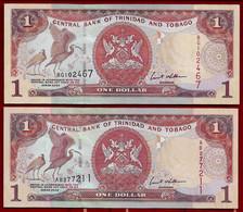 TRINIDAD & TOBAGO BANKNOTE - 2 NOTES 1 DOLLAR 2002 P#41b UNC (NT#02) - Trinidad & Tobago