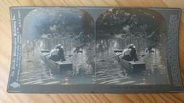 1901 - PROMENADE ROMANTIQUE EN BARQUE - PHOTO STEREO - Fotos Estereoscópicas