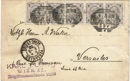 CTN67/ETR/2 - EMPIRE AUTRICHIEN - 2h BANDE DE 5 SUR CARTE POSTALE WIEN / VERSAILLES AOÛT 1903 - Brieven En Documenten