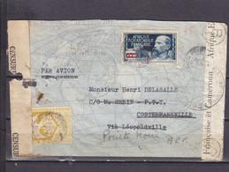 AEF 140 FRANCE LIBRE POUR COSTERMANSVILLE CONGO BELGE DOUBLE CENSURES CONGO BELGE ET AEF - 1923-44: Storia Postale